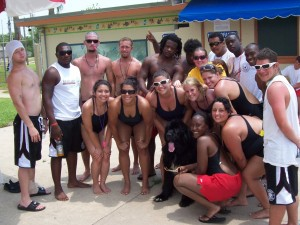 Milton helps teach lifeguards at Texas City, Texas